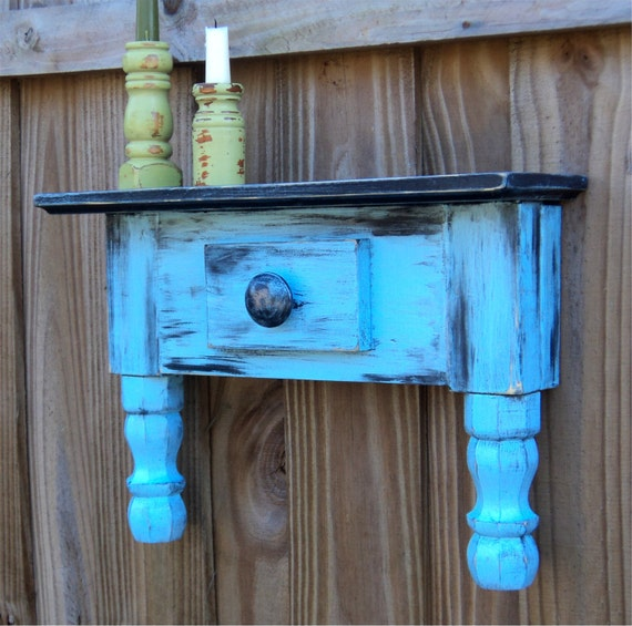 Wall Art, Primitive Wall Shelf, Country Sky Blue, Farm House Style
