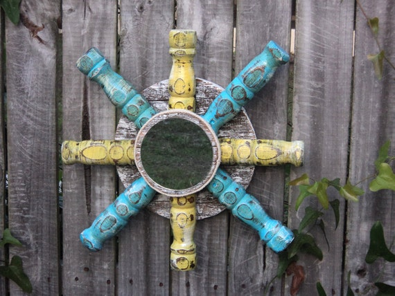 Beach-y, Nautical Style Mirror, Up Cycled Furniture Reclaimed Wood, Blue And Yellow