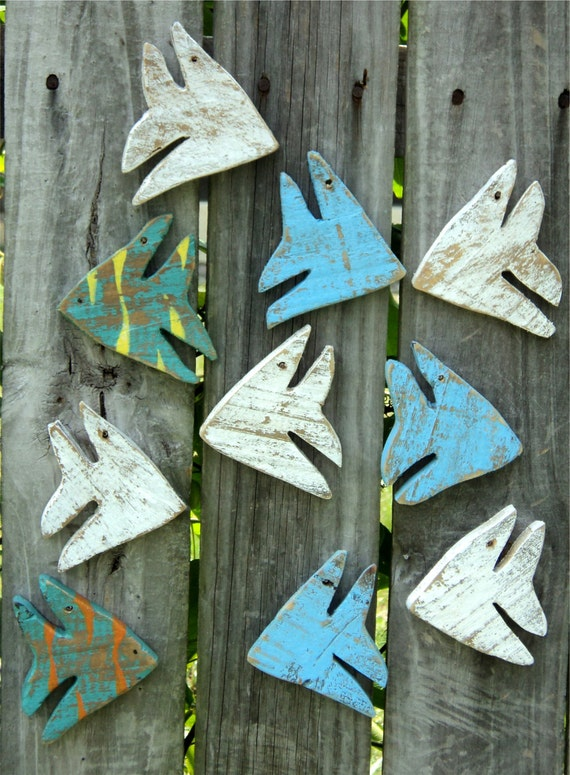School Of 10 Miniature Beach-y Angel Fish, Casual Cottage Decor, Up Cycled Weathered Wood