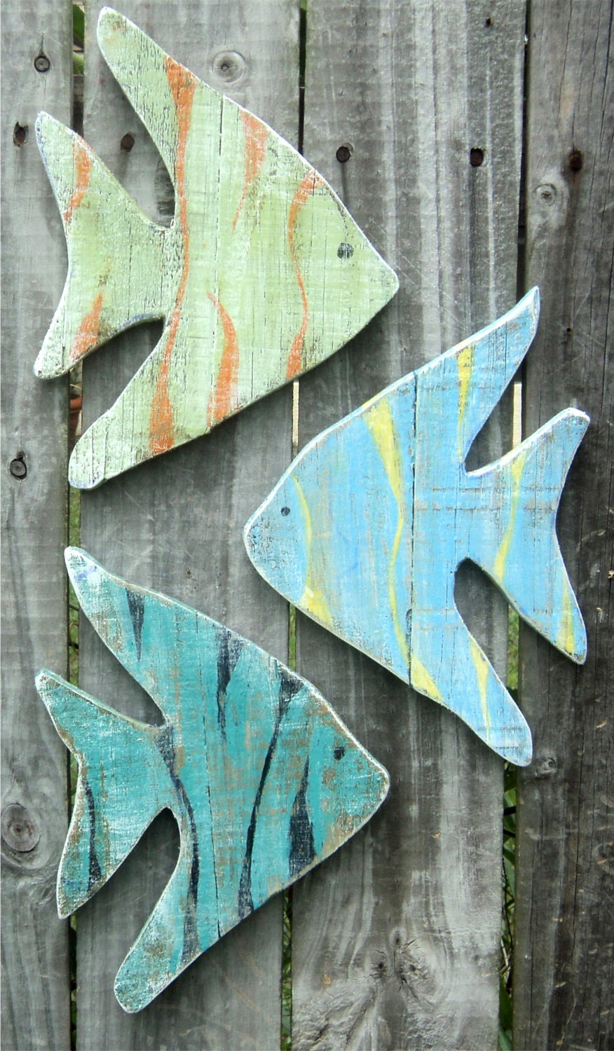 Tropical fish wood art nautical wall art rustic wooden for Fish wall decor