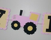 Tractor Pink and Yellow Happy Birthday Banner