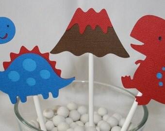 12 Blue and red Dinosaur cupcake Toppers T rex Volcano tyranosaurus