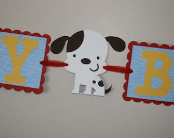 Puppy Dog Birthday Banner primary colors