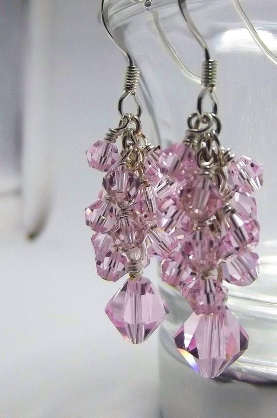 Beautiful Rose PINK Swarovski crystal dangling earrings handmade