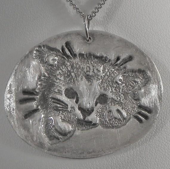 Cat Pendant Fine Silver PMC