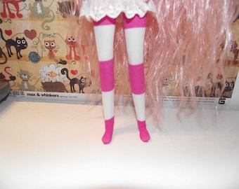 White with pink stripes tights leggings for Pullip doll