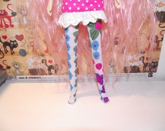 White with multi color flowers hippie tights leggings for Pullip doll