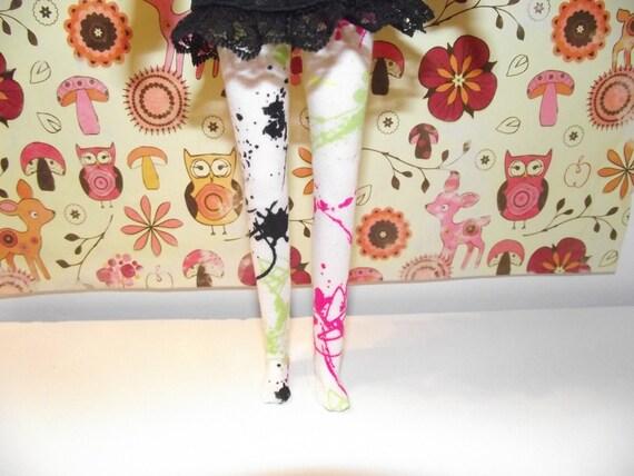 White neon paint splatter pattern tights leggins for Pullip doll