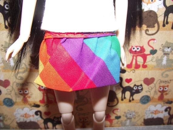 Rainbow mini skirt with ruffles for Pullip blythe barbie