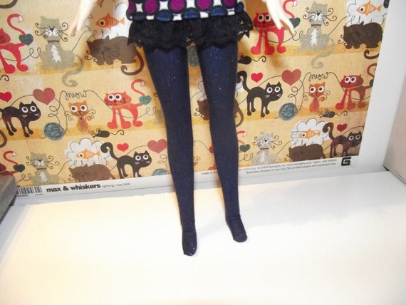 Dark Blue with sparkles tights leggings for Pullip doll