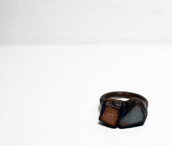Naturalistic Peach and Grey Druzy Ring (7)
