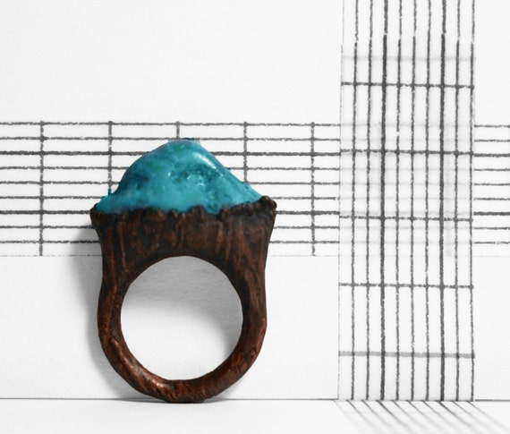 Vibrant Turquoise Electroformed Copper Ring (6)