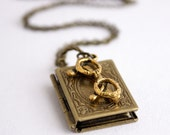 Book Locket Necklace Antique Brass - Book Worm
