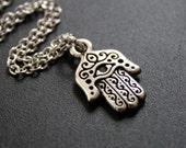Hamsa Necklace Silver Hand Pendant Necklace
