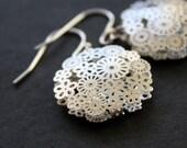 Silver Earrings Filigree Flower Earrings Dangle Earrings