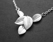 Silver Leaf Necklace Leaf Cluster Pendant Necklace