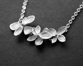 Silver Flower Necklace Azalea Pendant Necklace