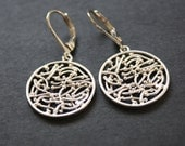 Round Silver Earrings Dangles Leverback Ear wires