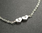 Custom Initial Bracelet Tiny Hearts Bracelet Silver