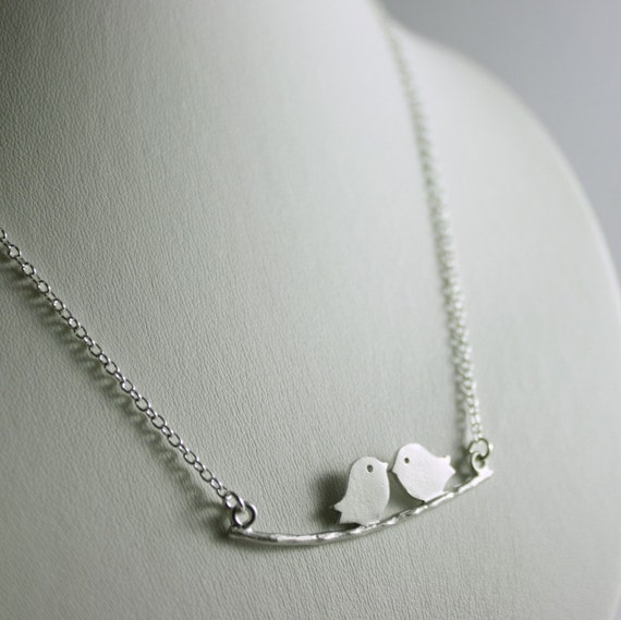 Love Birds - Mod Bird Necklace in Silver