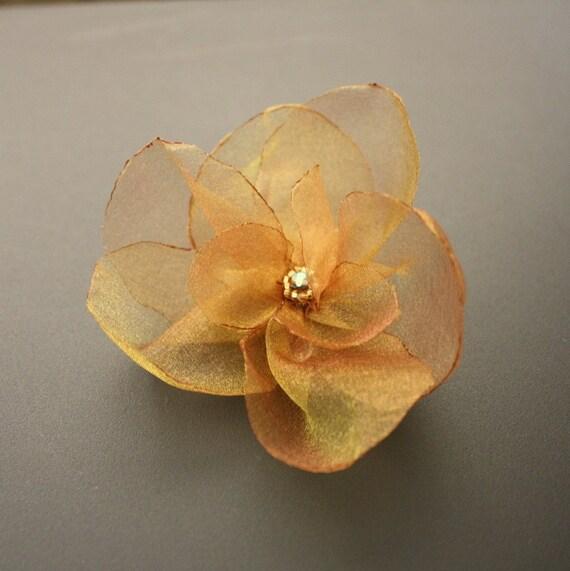 Gold Organza Flower Hair Clip