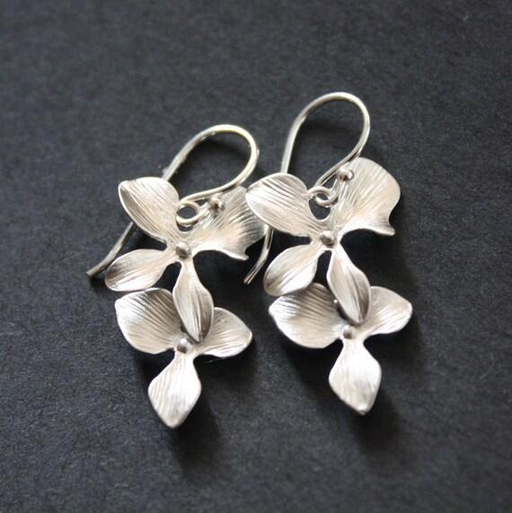 Silver Orchid Earrings Sterling Silver Earwires