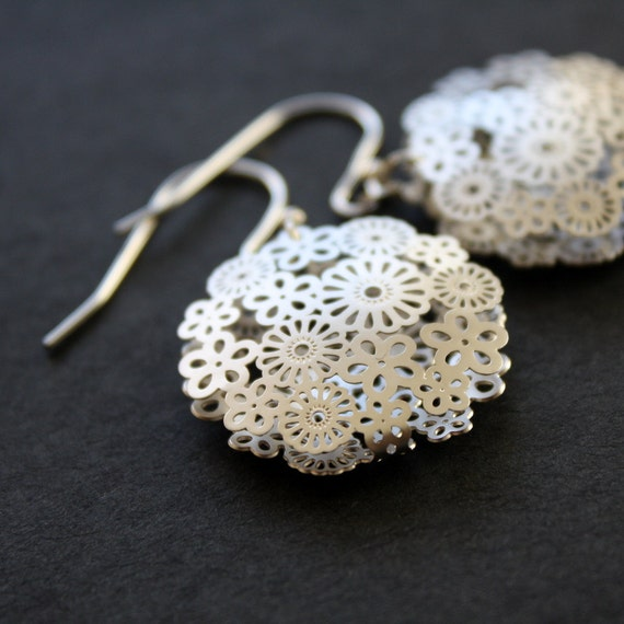 Silver Earrings Filigree Flower Earrings Dangle Earrings