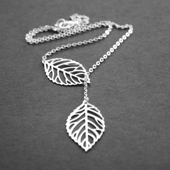 Silver Leaf Necklace Lariat Necklace