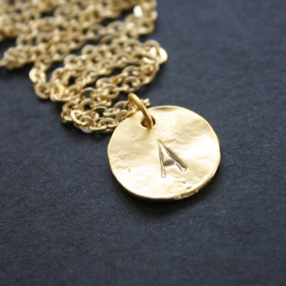 Personalized Necklace Custom Initial Necklace Gold Disc