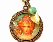 Vintage Art Goddess Pendant with Charms