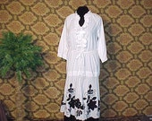 100% Cotton and Cut out Black & White reconstructed redesigned dress OS s m l xl shabby chic OOAk