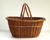 Vintage Wicker Farmhouse Market Basket with Handles