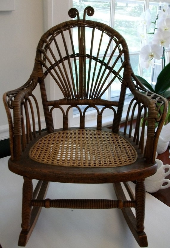 Vintage Antique Children S Rocking Chair With Caned Seat