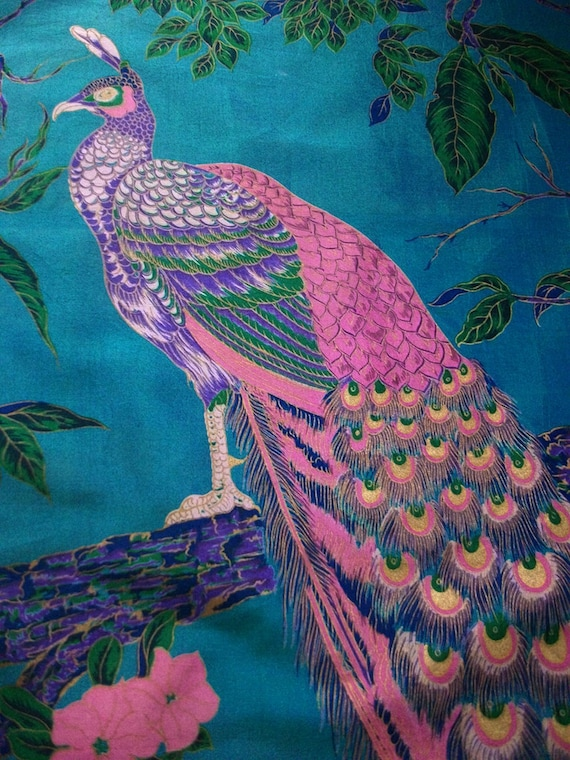 """Vintage Thai Silk Scarf - Peacock 36"""" x 34"""" Turquoise and Pink - Hand Painted and Hand Rolled"""