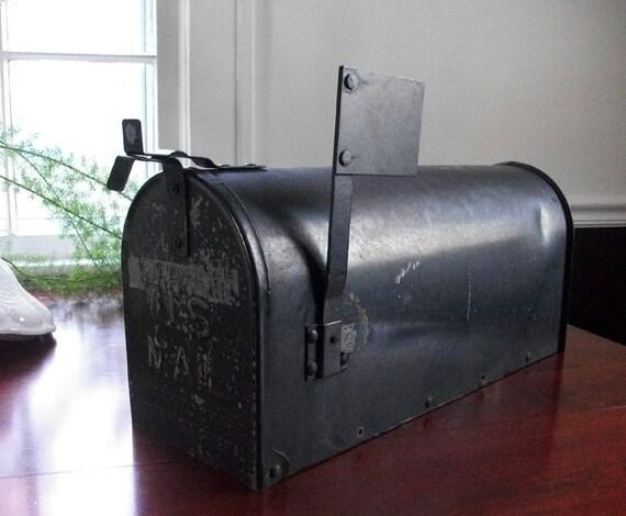 Vintage US Mail Box Joroleman Curbside Black Mailbox