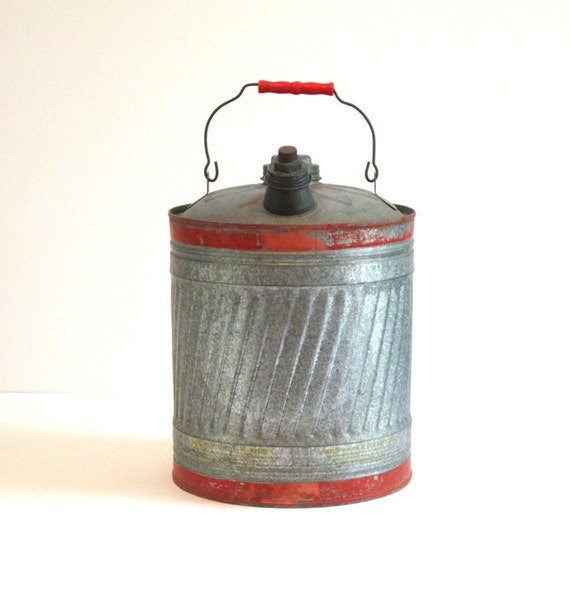 Vintage Old Ironsides Galvanized Metal 5 Gallon Gas Can