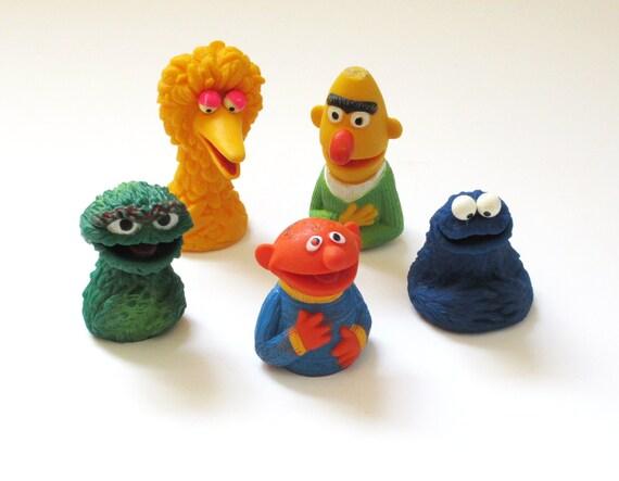 5 Vintage Sesame Street Finger Rubber Puppets By