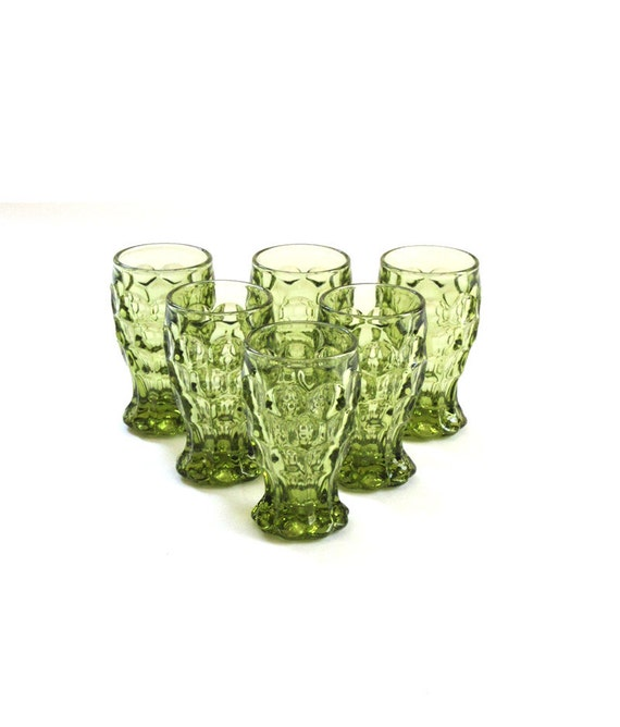 6 Vintage Imperial Provincial Verde Green Glass 5 oz. Footed Tumblers