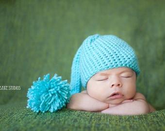 Blue Baby Hat - Newborn Elf Hat - Newborn Photo Prop - Blue Baby Beanie - Munchkin Hat - Long Tail Hat - Newborn Baby Prop