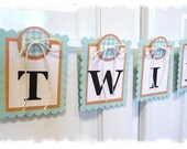 TWINS Baby Shower Banner - Nursery Banner - Aqua Coral Color Scheme - MADE to ORDER