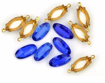 Stunning 15x7mm Deep Blue Navette Glass Gems with Settings, (K2-R1-C1), Quantity 6