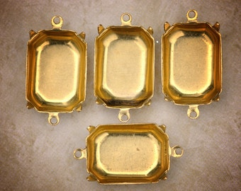 18x13mm Octagon Brass Settings, 2 Loops, quantity 4