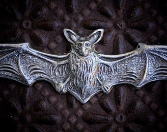 Bat with Wings Extended, No Holes, Sterling Silver Over Brass, quantity 1