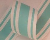"1.5"" Aqua & White Stripe Grosgrain Ribbon 5 Yds - The Ribbon Boutique"