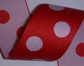 "1.5"" Red/White Reversible Polka Dot Grosgrain Ribbon 2 yds - The Ribbon Boutique"