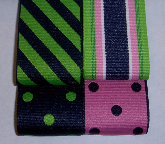 "8 YDS 1.5"" Preppy Stripe Reversible Polka Dot Grosgrain Ribbon Pink/Navy Blue/Lime Green"