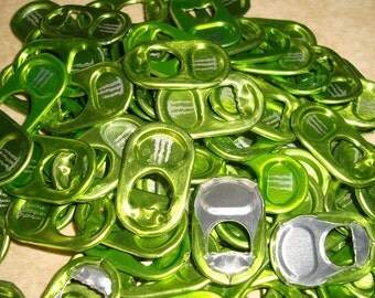 100 Lime Green Monster Tabs Energy Drink Aluminum Pull Tabs Pop Can Soda Tops Colored Colors