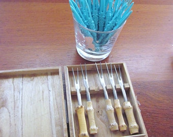 3 sets of Appetizer or Cocktail Picks or Forks, Turquoise, Bamboo and Wood, 1 boxed