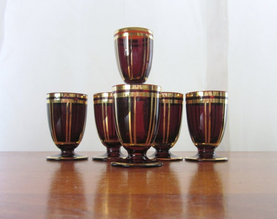 Bohemian Dark Amber Glass with Gold Stripes Cordial or Sherry Glasses lot of 6