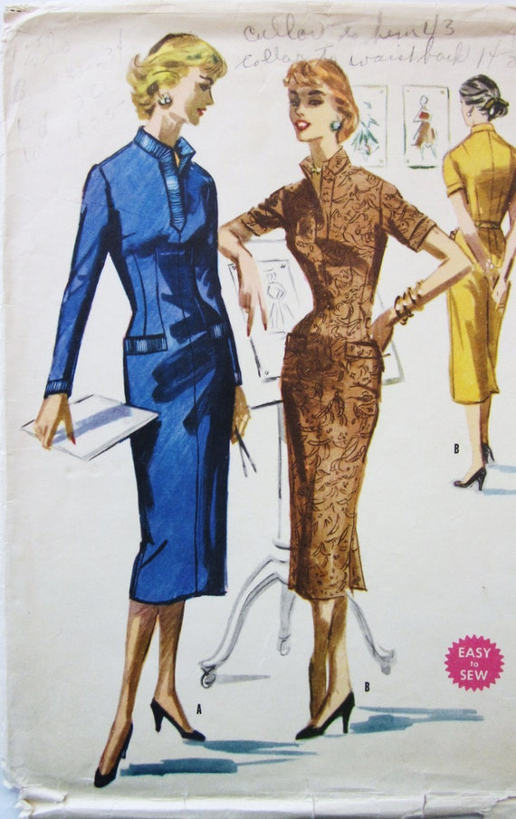 50s McCalls 3463 Slim Wiggle Dress with Wide V-Neck Size 12 Bust 30